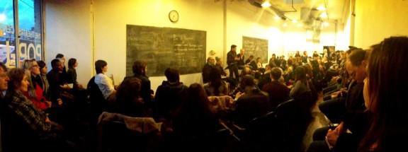 Packed house for Civil Debates 1. Photo by Renna Reddie.
