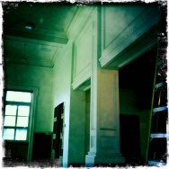 Main performance space - columns and coffered panels