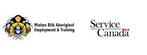 Miziwe Biik and Service Canada Logo